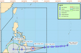 "Tropical Depression ""Chedeng"" entered the Philippine Area of Responsibility on Sunday, March 17. Signal No. 1 has been hoisted over Davao Oriental./PAGASA/"