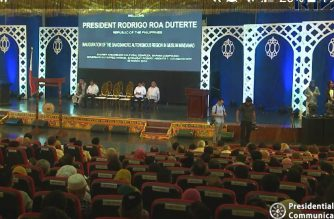 """The Bangsamoro interim parliament held its inaugural session on Friday, March 29, with the election of its officials. President Rodrigo Duterte expressed """"extreme happiness"""" as the Bangsamoro Autonomous Region in Muslim Mindanao was inaugurated./PCOO/"""