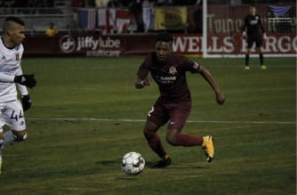 Defender Shannon Gomez advancing the ball during the 2019 USL season opener of the Sacramento Republic FC against the Real Monarchs SLC at Papa Murphy's Park on March 9, 2019 . Photo by Angel Membrere, EBC Sacramento Bureau, Eagle News Service