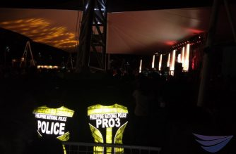 The luminous vests of two policemen on patrol in Zambales stook out in the darkness in a concert in Iba, Zambales as the place participated in the 2019 Earth Hour where lights were switched off from 8:30 p.m. to 9:30 pm.  (Photo by Eagle News Service correspondent in Zambales, Tina Abrigo)
