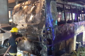 A fireman is seen continuing to put our a fire on a passenger bus that had earlier erupted into a blaze along the northbound side of EDSA, particularly at the EDSA Shaw tunnel early Friday evening. March 22, 2019. (Photo by Ces Rodil, Eagle News Service correspondent)