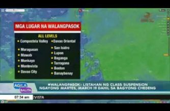 List of areas with class suspension on Tuesday, March 19 in Mindanao