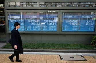 A man walks in front of the Tokyo Stock Exchange rate displayed in a window in Tokyo on March 25, 2019. (Photo by CHARLY TRIBALLEAU / AFP)