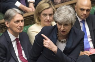 "A handout photograph taken and released by the UK Parliament on April 3, 2019 shows Britain's Prime Minister Theresa May speaking during the weekly Prime Minister's Questions (PMQs) question and answer session in the House of Commons in London. - Prime Minister Theresa May held ""constructive"" talks Wednesday with Britain's opposition leader in a bid to forge a Brexit compromise that avoids a chaotic ""no-deal"" departure from the EU in nine days. May tore up her steadfast strategy and sought Labour leader Jeremy Corbyn's support in a surprise last-minute gesture that could determine the fate of the country and her government. (Photo by MARK DUFFY / various sources / AFP) / EDITORS NOTE THE IMAGE HAS BEEN DIGITALLY ALTERED AT SOURCE TO OBSCURE VISIBLE DOCUMENTS  - RESTRICTED TO EDITORIAL USE - NO USE FOR ENTERTAINMENT, SATIRICAL, ADVERTISING PURPOSES - MANDATORY CREDIT "" AFP PHOTO /MARK DUFFY/ UK Parliament"""