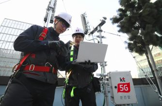 Technicians of South Korean telecom operator KT check an antenna for the 5G mobile network service on the rooftop of a building in Seoul on April 4, 2019. - South Korea launched the world's first nationwide 5G mobile networks two days early, its top mobile carriers said on April 4, giving a handful of users access in a late-night scramble to be the first providers of the super-fast wireless technology. (Photo by JUNG Yeon-Je / AFP)