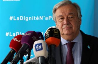 United Nations Secretary General Antonio Guterres delivers a speech during a visit to a United nations Relief and Works Agency's (UNRWA, UN agency for Palestinian refugees) school, in the Baqa'a Palestinian refugee camp, near Amman on April 6, 2019. (Photo by Hamza MAZRAAWI / AFP)