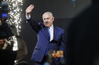 Israeli Prime Minister Benjamin Netanyahu greets supporters at his Likud Party headquarters in the Israeli coastal city of Tel Aviv on election night early on April 10, 2019. (Photo by Thomas COEX / AFP)