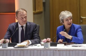 European Council President Donald Tusk (L) and Britain's Prime Minister Theresa May look on during a European Council meeting on Brexit at The Europa Building at The European Parliament in Brussels on April 10, 2019. (Photo by Olivier Hoslet / various sources / AFP)