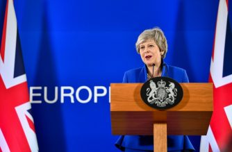 Britain's Prime Minister Theresa May holds a press conference after the European Council meeting on Brexit at The Europa Building at The European Parliament in Brussels on April 11, 2019. (Photo by Philippe HUGUEN / AFP)