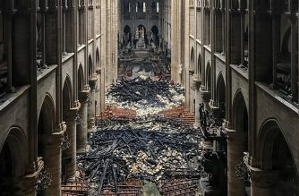 A picture taken on April 16, 2019 shows an interior view of the Notre-Dame Cathedral in Paris in the aftermath of a fire that devastated the cathedral. - The Paris fire service announced that the last remnants of the blaze were extinguished on April 16, 15 hours after the fire broke out. Thousands of Parisians and tourists watched in horror from nearby streets on April 15 as flames engulfed the building and rescuers tried to save as much as they could of the cathedral's treasures built up over centuries. (Photo by - / AFP)
