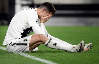 Juventus' Portuguese forward Cristiano Ronaldo reacts during the UEFA Champions League quarter-final second leg football match Juventus vs Ajax Amsterdam on April 16, 2019 at the Juventus stadium in Turin. (Photo by Filippo MONTEFORTE / AFP)