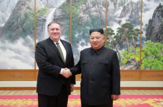 """(FILES) This file photo taken on October 7, 2018 and released by North Korea's official Korean Central News Agency (KCNA) on October 8, 2018 via KNS shows North Korea's leader Kim Jong Un (R) shaking hands with US Secretary of State Mike Pompeo at the Paekhwawon State Guesthouse in Pyongyang. - North Korea on April 18, 2019 demanded the removal of US Secretary of State Mike Pompeo from stalled nuclear talks between Pyongyang and Washington, accusing him of derailing discussions. (Photo by KCNA VIA KNS / KCNA VIA KNS / AFP) / - South Korea OUT / REPUBLIC OF KOREA OUT   ---EDITORS NOTE--- RESTRICTED TO EDITORIAL USE - MANDATORY CREDIT """"AFP PHOTO/KCNA VIA KNS"""" - NO MARKETING NO ADVERTISING CAMPAIGNS - DISTRIBUTED AS A SERVICE TO CLIENTS THIS PICTURE WAS MADE AVAILABLE BY A THIRD PARTY. AFP CAN NOT INDEPENDENTLY VERIFY THE AUTHENTICITY, LOCATION, DATE AND CONTENT OF THIS IMAGE. /"""