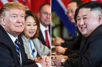 This combination of files pictures made on April 18, 2019, shows US President Donald Trump (L) and North Korea's leader Kim Jong Un (R) smiling during a bilateral meeting on February 28, 2019 during the second US-North Korea summit at the Sofitel Legend Metropole hotel in Hanoi. (Photo by Saul LOEB / AFP)