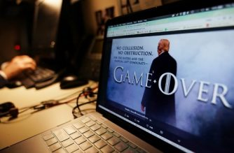 "An illustration shows a Game of Thrones-styled montage from US President Donald Trump's twitter page in Washington, DC on April 18, 2019. - US President Donald Trump, backed by his attorney general, declared himself fully vindicated in the investigation into Russian election meddling and alleged collusion with his campaign -- before the long-awaited full probe report was made public. ""Game Over,"" Trump tweeted, using a ""Game of Thrones"" style montage that pictured him standing in dramatic fog. (Photo by MANDEL NGAN / AFP)"