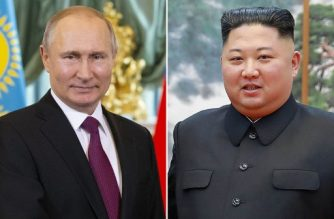 "This combination of files pictures made on April 18, 2019, shows portraits of Russian President Vladimir Putin taken , April 3, 2019 in Moscow and is file photo taken on October 7, 2018 and of North Korea's leader Kim Jong Un ( a handout released by North Korea's official Korean Central News Agency (KCNA) via KNS) taken on October 8, 2018 in Pyongyang. - North Korea's leader Kim Jong Un will visit Russia for talks with Vladimir Putin this month, the Kremlin said on April 18, 2019, as tensions between Washington and Pyongyang spiked higher. (Photo by Alexander Zemlianichenko and Handout / various sources / AFP) / South Korea OUT / ---EDITORS NOTE--- RESTRICTED TO EDITORIAL USE - MANDATORY CREDIT ""AFP PHOTO/KCNA VIA KNS"" - NO MARKETING NO ADVERTISING CAMPAIGNS - DISTRIBUTED AS A SERVICE TO CLIENTS THIS PICTURE WAS MADE AVAILABLE BY A THIRD PARTY. AFP CAN NOT INDEPENDENTLY VERIFY THE AUTHENTICITY, LOCATION, DATE AND CONTENT OF THIS IMAGE. /"