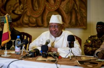 (FILES) In this file photo taken on October 13, 2018 Malian Prime Minister Soumeylou Boubeye Maiga addresses the press during a conference in Mopti. - Mali's prime minister offered his resignation on April 18, 2019 following a motion of no confidence in his government over its handling of violence in the centre of the country, according to the presidency. A statement from President's office said he had accepted Soumeylou Boubeye Maiga's resignation, which comes after months of protests over the wave of violence. (Photo by MICHELE CATTANI / AFP)