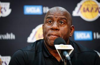 "EL SEGUNDO, CA - SEPTEMBER 20: Earvin ""Magic"" Johnson discusses the upcoming Los Angeles Lakers' season at UCLA Health Training Center on September 20, 2018 in El Segundo, California.   Meg Oliphant/Getty Images/AFP"