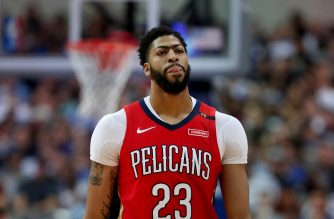 DALLAS, TEXAS - MARCH 18: Anthony Davis #23 of the New Orleans Pelicans walks off the court against the Dallas Mavericks in the first half at American Airlines Center on March 18, 2019 in Dallas, Texas. NOTE TO USER: User expressly acknowledges and agrees that, by downloading and or using this photograph, User is consenting to the terms and conditions of the Getty Images License Agreement.   Tom Pennington/Getty Images/AFP
