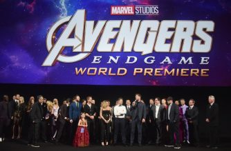 "LOS ANGELES, CA - APRIL 22: Director Joe Russo, Director Anthony Russo, Mark Ruffalo, Chris Evans, Robert Downey Jr., Scarlett Johansson, Jeremy Renner, Chris Hemsworth, Executive producer Jon Favreau, President of Marvel Studios/Producer Kevin Feige, and Executive producer Louis D'Esposito speak onstage during the Los Angeles World Premiere of Marvel Studios' ""Avengers: Endgame"" at the Los Angeles Convention Center on April 23, 2019 in Los Angeles, California.   Alberto E. Rodriguez/Getty Images for Disney/AFP"