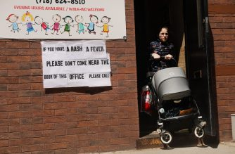 NEW YORK, NEW YORK - APRIL 10: A sign warns people of measles in the ultra-Orthodox Jewish community in Williamsburg on April 10, 2019 in New York City. As a measles epidemic continues to spread, New York City Mayor Bill de Blasio recently announced a state of emergency and mandated residents of the ultra-Orthodox Jewish community in Williamsburg at the center of the outbreak to get vaccinated for the viral disease. Those who choose not to will risk a $1,000 fine.   Spencer Platt/Getty Images/AFP