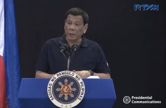 President Rodrigo Duterte delivers his speech during the 25th National Federation of the Motorcycle Clubs of the Philippines (NFMCP) Annual National Convention at the Iloilo Convention Center located within the Iloilo Business Park in Mandurriao, Iloilo City on April 6, 2019.  (Photo grabbed from RTVM video/Courtesy Malacanang)