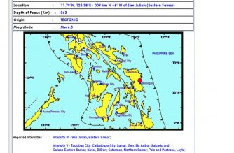 The Philippine Institute of Volcanology and Seismology (Phivolcs) upgraded to magnitude 6.5 the quake that hit Eastern Samar earlier Tuesday afternoon, April 23, 2019.  It was earlier recorded at magnitude 6.2,  (Courtesy Phivolcs)