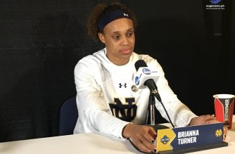 A day before their second consecutive National Championship appearance, Notre Dame's Brianna Turner speaks to the media. Photo by Jay Rosquites, EBC Florida Bureau, Eagle News Service.