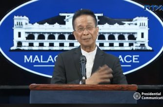 (File photo) Presidential Spokesperson Salvador Panelo holds a press briefing in Malacanang on Monday, April 8, 2019.  (Photo grabbed from RTVM video/Courtesy RTVM)