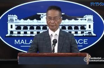 Presidential Spokesperson Salvador Panelo during the press briefing on Tuesday, April 16, 2019.  (Photo grabbed from RTVM video/Courtesy RTVM)