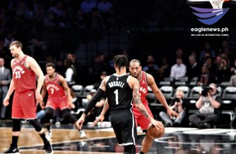 All-Stars  D'Angelo Russell and Kawhi Leonard go head to head in the Toronto Raptors win over Atlantic Division rivals, Brooklyn Nets. Photo by EBC New Jersey Bureau, Eagle News Service.
