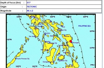 Another strong quake rocks the Philippines, this time in Eastern Samar, with a recorded magnitude of 6.2.  (Courtesy Phivolcs)