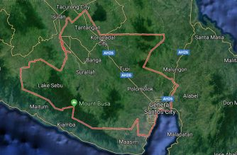 Map showing the province of South Cotabato, including General Santos City. (Courtesy Google Map)