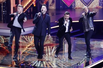 Westlife perform during the annual German film and television awards 'Golden Camera' ('Die Goldene Kamera') of German TV magazine 'HoerZu' in Berlin on March 30, 2019. - The award of of the Media Group Funke honours outstanding achievements in television, film and entertainment. (Photo by HANNIBAL HANSCHKE / POOL / AFP)