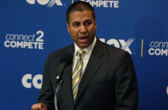 (FILE) FCC Chairman Ajit Pai speaks during a news conference to unveil Cox Connect2Compete program, at the National Press Club, on October 1, 2018 in Washington, DC.  (Mark Wilson/Getty Images/AFP)