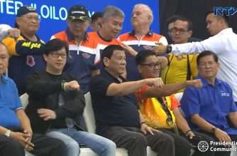 President Rodrigo  Duterte poses with officials of various motorcycle clubs during the 25th National Federation of the Motorcycle Clubs of the Philippines (NFMCP) Annual National Convention at the Iloilo Convention Center in  Iloilo City on April 6, 2019.  (Photo grabbed from RTVM/Courtesy RTVM)