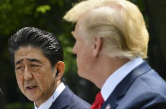 Japan's Prime Minister Shinzo Abe speaks during a joint press conference with US President Donald Trump in the Rose Garden of the White House on June 7, 2018 in Washington, DC. (Photo by MANDEL NGAN / AFP)