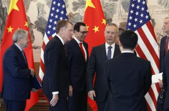 Chinese Vice Premier Liu He (4th L) talks with US Treasury Secretary Steven Mnuchin (C), US Trade Representative Robert Lighthizer (2nd L) and US Ambassador to China Terry Branstad (L) after concluding their meeting at the Diaoyutai State Guesthouse in Beijing on May 1, 2019. (Photo by Andy Wong / POOL / AFP)