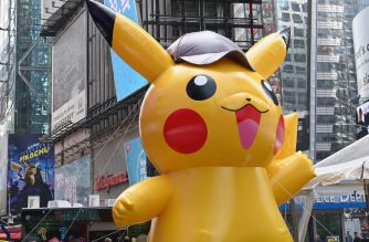 "A giant Pikachu baloon attends the premiere of ""Pokemon Detective Pikachu"" at Military Island - Times Square on May 02, 2019 in New York City. (Photo by Angela Weiss / AFP)"