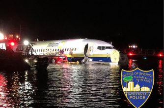 "This handout image obtained courtesy of Jacksonville, Florida, Sheriff's Office on May 3, 2019, shows a Boeing 737 aircraft after it went off the runway at Naval Air Station Jacksonville and into the St. Johns river, near Jacksonville, Florida on May 3, 2019. - The plane with 136 passengers and 7 aircrew on board, was arriving from Guantanamo Bay in Cuba, slid off the runway at 9:40 p.m. ET and into the river; now is in shallow water and not submerged. No fatalities were reported and no critical injuries, the Naval Air Station Jacksonville, said in a statement. (Photo by HO / Jacksonville, Florida Sheriff's Office / AFP) / RESTRICTED TO EDITORIAL USE - MANDATORY CREDIT ""AFP PHOTO /JACKSONVILLE, FLORIDA, SHERIFF'S OFFICE"" - NO MARKETING NO ADVERTISING CAMPAIGNS - DISTRIBUTED AS A SERVICE TO CLIENTS ---"