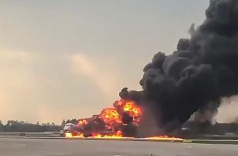 """This handout grab of a video obtained from the Instagram account of Mikhail Norenko on May 5, 2019, shows a fire of a Russian-made Superjet-100 at Sheremetyevo airport outside Moscow. - The Interfax agency reported that the plane, a Russian-made Superjet-100, had just taken off from Sheremetyevo airport on a domestic route when the crew issued a distress signal. 13 person died according to Russian agencies. (Photo by HO / INSTAGRAM / AFP) / RESTRICTED TO EDITORIAL USE - MANDATORY CREDIT """"AFP PHOTO / Mikhail Norenko"""" - NO MARKETING NO ADVERTISING CAMPAIGNS - DISTRIBUTED AS A SERVICE TO CLIENTS --- NO ARCHIVE"""