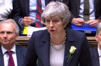 "A video grab from footage broadcast by the UK Parliament's Parliamentary Recording Unit (PRU) shows Britain's Prime Minister Theresa May speaking during the weekly Prime Minister's Questions (PMQs) session in the House of Commons in London on May 8, 2019. (Photo by HO / PRU / AFP) / RESTRICTED TO EDITORIAL USE - MANDATORY CREDIT "" AFP PHOTO / PRU "" - NO USE FOR ENTERTAINMENT, SATIRICAL, MARKETING OR ADVERTISING CAMPAIGNS"