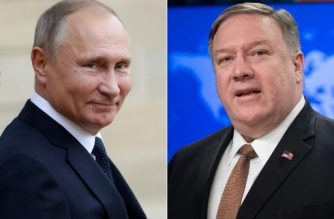 (COMBO) This combination of file pictures created on May 10, 2019 shows Russian President Vladimir Putin (L)  in Paris on November 11, 2018 and US Secretary of State Mike Pompeo at the State Department in Washington, DC, on April 8, 2019. - US Secretary of State Mike Pompeo is heading to Russia with an unusual and thankless task -- standing firm against the rival power even as his boss, President Donald Trump, reaches out to reconcile. Pompeo will meet on May 14, 2019, with Putin in the Black Sea resort of Sochi. (Photos by JACQUES DEMARTHON and SAUL LOEB / AFP)