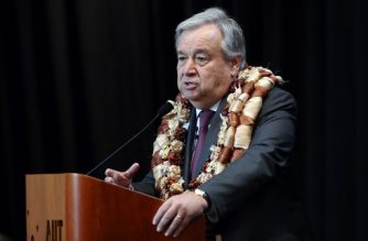 United Nations Secretary-General Antonio Guterres speaks during a visit to the Auckland University of Technology (AUT) South Campus in Auckland on May 13, 2019. - Guterres is on a two-day visit to New Zealand. (Photo by MICHAEL BRADLEY / AFP)