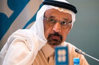 (FILES) In this file photo taken on March 18, 2019, Saudi Arabia's Energy Minister Khalid al-Falih attends a press conference at the end of the 13th meeting of the Joint Ministerial Monitoring Committee (JMMC) of OPEC and non- OPEC countries in Baku. - Two pumping stations on a major Saudi oil pipeline were attacked by drones on May 14, 2019, halting the flow of crude along it, Saudi Energy Minister Khalid al-Falih said. He said the attacks on the pipeline from the oil-rich Eastern Province to the Red Sea took place early in the day. Yemen's Huthi rebels said that they had targeted several vital Saudi targets with drones. (Photo by Mladen ANTONOV / AFP)