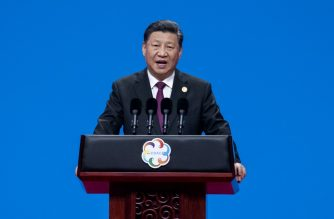 Chinese President Xi Jinping delivers a speech during the opening ceremony of the Conference on Dialogue of Asian Civilizations at the National Convention Center in Beijing on May 15, 2019. (Photo by NICOLAS ASFOURI / AFP)