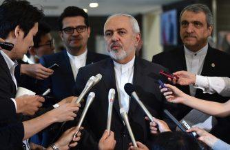 This picture taken on May 16, 2019 shows Iranian Foreign Minister Mohammad Javad Zarif answering reporter's questions after a meeting with his Japanese counterpart Taro Kono at the foreign ministry in Tokyo. (Photo by Kazuhiro NOGI / AFP)