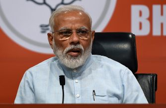 """Indian Prime Minister Narendra Modi takes part in a press conference in New Delhi on May 17, 2019. - Indian Prime Minister Narendra Modi on May 17 condemned an extremist Hindu election candidate from his ruling party who said the assassin of independence hero Mahatma Gandhi was a """"patriot"""". (Photo by MONEY SHARMA / AFP)"""