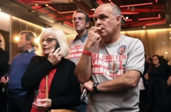 Supporters of opposition Labor leader Bill Shorten watch the results of Australia's general election at the Labor Party function in Melboune on May 18, 2019. - Between 16 and 17 million people were expected to vote across the vast island-continent in a bitterly fought election that may be the first anywhere decided by climate policy. (Photo by WILLIAM WEST / AFP)