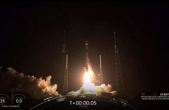 "This video grab taken from the Space X webcast transmission on May 23, 2019, shows a SpaceX Falcon 9 rocket with 60 Starlink satelites lifting off from Space Launch Complex 40 (SLC-40) at Cape Canaveral Air Force Station, Florida. (Photo by HO / SPACEX / AFP) / RESTRICTED TO EDITORIAL USE - MANDATORY CREDIT ""AFP PHOTO / SPACE X"" - NO MARKETING NO ADVERTISING CAMPAIGNS - DISTRIBUTED AS A SERVICE TO CLIENTS ---"