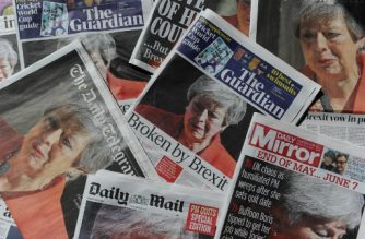 "An arrangement of UK daily newspapers photographed as an illustration in London on May 25, 2019 shows front page headlines reporting on the resignation speech of Britain's Prime Minister Theresa May. - Beleaguered British Prime Minister Theresa May announced on May 24 that she will resign on June 7 following a Conservative Party mutiny over her remaining in power. All the UK papers carried the story on their front pages with headlines like the Guardian's ""Broken by Brexit"", the Daily Mail's ""A Crying Shame"" and the Times' ""It all ends in tears"". (Photo by DANIEL SORABJI / AFP)"